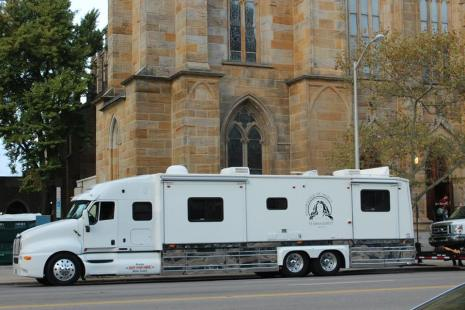 Maria's Tour Bus outside St. Joseph Cathedral in Columbus, OH (Photo by Lauren Ramseyer)